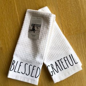 Rae Dunn White Kitchen Towels. Set of 2.